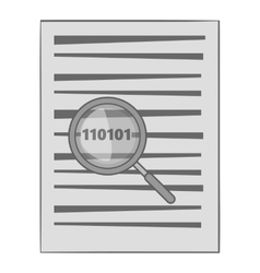 Binary code in magnifier icon monochrome style vector