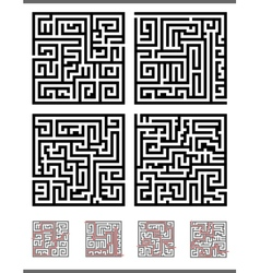 Maze game diagrams set vector