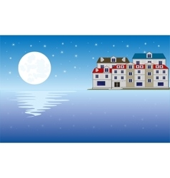 Moon on ocean and city vector