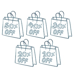 Paper bags with discounts vector