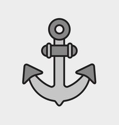 grey anchor symbol black outline vector image