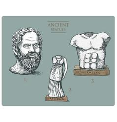 ancient greece antique sculptures of athena vector image