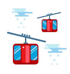 snowboarder sitting in ski gondola and lift vector image