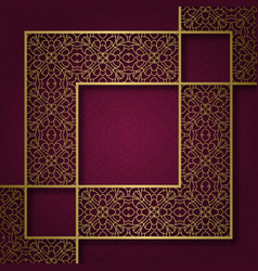 ornamental background with square frame vector image