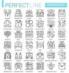 Wedding outline concept symbols perfect thin line vector