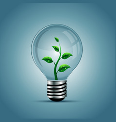 Light bulb with plant inside vector