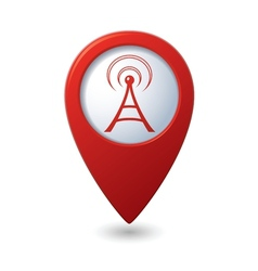 wi fi icon red map pointer vector image
