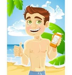 Young man on the beach with cream for sunburn vector