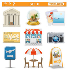 Travel icons set 8 vector