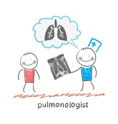 pulmonologist chest X-ray shows a patient vector image