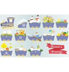 Cartoon train calendar season year nature spring vector