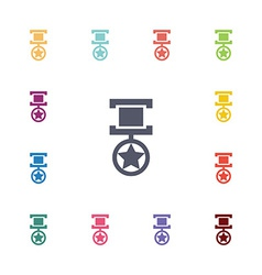 Medal flat icons set vector
