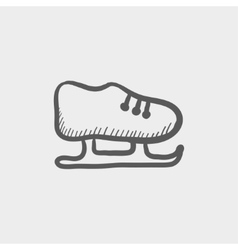 Ice skate sketch icon vector