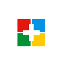 Cross medic colorful sign logo vector