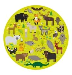 bison bat manatee fox elk horse wolf partridge fur vector image