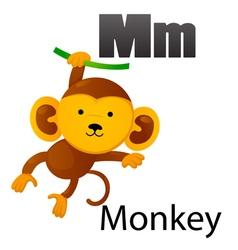 Alphabet M with monkey vector image