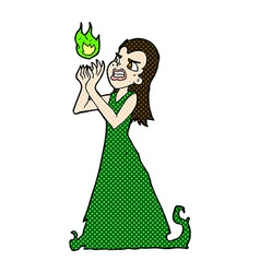 Comic cartoon witch woman casting spell vector