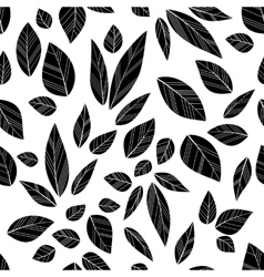 Black seamless leaves vector