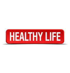 Healthy life red 3d square button on white vector