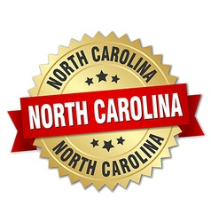 North carolina round golden badge with red ribbon vector
