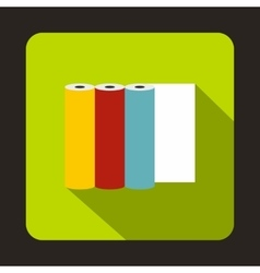 Rolls of colored paper icon flat style vector