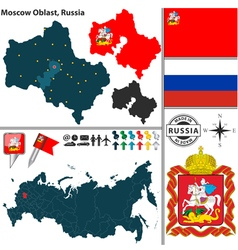 Map of oblast of moscow vector