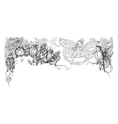 Birds singing with a fairy vintage vector