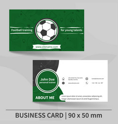 Business card template football training personal vector