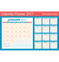 Calendar Planner for 2017 Year Week Starts Sunday vector image