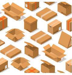 cardboard boxes background pattern on a white vector image