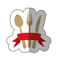 Color cutlery with ribbon icon vector