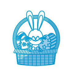 Cute easter bunny basket egg decorate vector