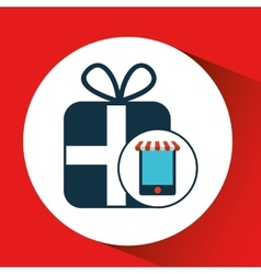Digital e-commerce buy gift present icon vector