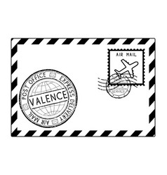 envelope black icon with postmarks valence italy vector image vector image