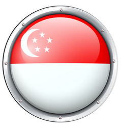 Flag of singapore in round frame vector