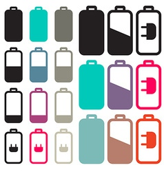 Flat Design Black Battery Life Icons Set vector image