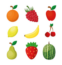 Fruits healthy food vegan icons vector