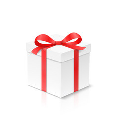 gift cube box with red color bow knot and ribbon vector image