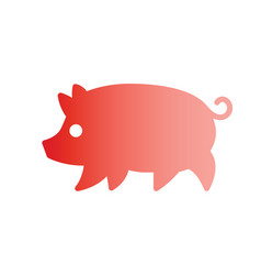 Gradient silhouette drawing of pig vector