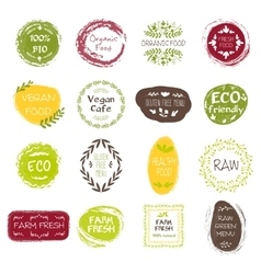 Healthy food hand drawn labels vector