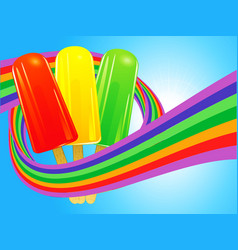 Ice lollies wrapped in a rainbow over blue sky vector