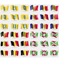 Kalmykia andorra belgium burundi set of 36 flags vector
