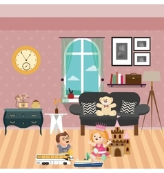 Kids play in room with lot of toys and dolls sofa vector