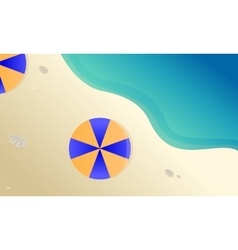 Landscape beach with umbrella vector image vector image
