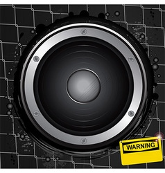 Loudspeaker on grunge background with warning sign vector