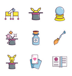 Magician icons set flat style vector