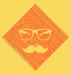 Mustache and glasses sign red scribble vector