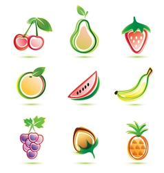 Organic fruits icons set organic food concept vector