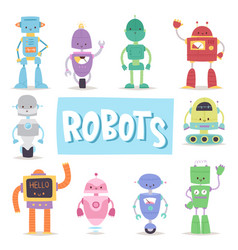 robots and transformer androids retro cartoon toys vector image