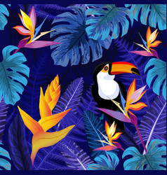 Seamless pattern with flowers and toucan bird vector